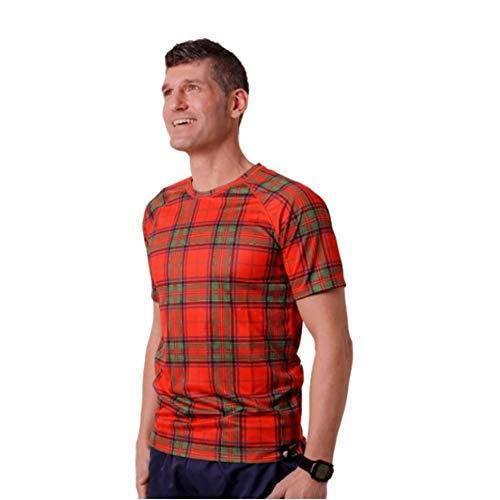HOOPOE Camiseta Escocia Hombre, Manga Corta, Running, Gimnasio #ScottishRed Talla L