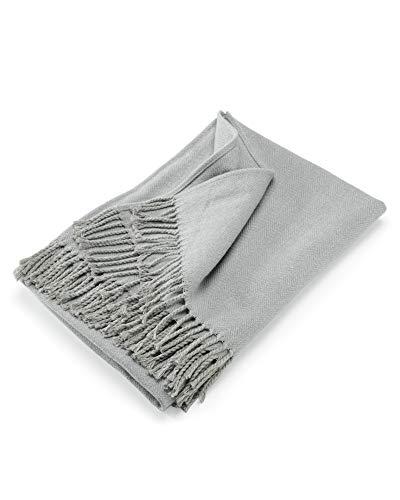 myHomery Sofadecke Fischgräten leicht & kuschelig - Wolldecke Fransen - Kuscheldecke Design modern - Decke Baumwolle - Anthrazit  130 x 170 cm