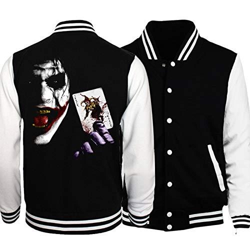 Männer Pullover Jacke - Joker Print Baseball Jersey Sweatshirt Kragen Casual Fluganzug Zip Langarm Herbst Winter Outwear - Teen Geschenk C-X-Large