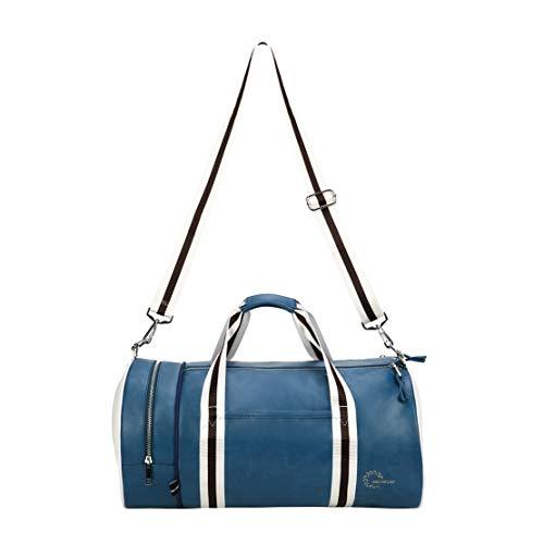 Quanjie Bolsa Gimnasio de Viaje Impermeable Bolsas Deporte PU Cuero Bolsos Deportivos Fin de Semana Travel Duffle Bag para Hombres y Mujeres (Azul)