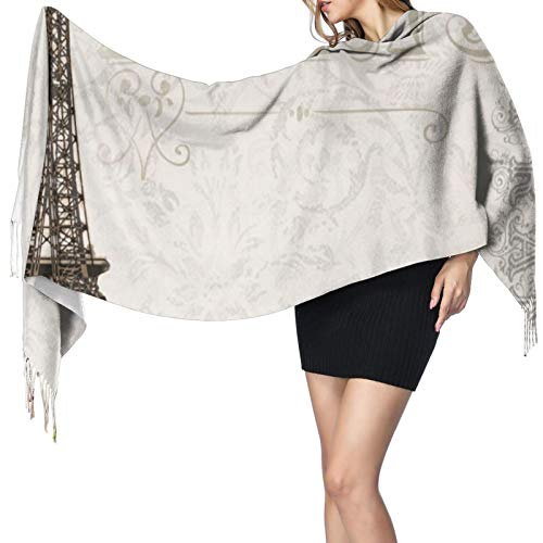 Chal largo cálido con diseño de la Torre Eiffel de París Francia y rosas rosas rosas rosas