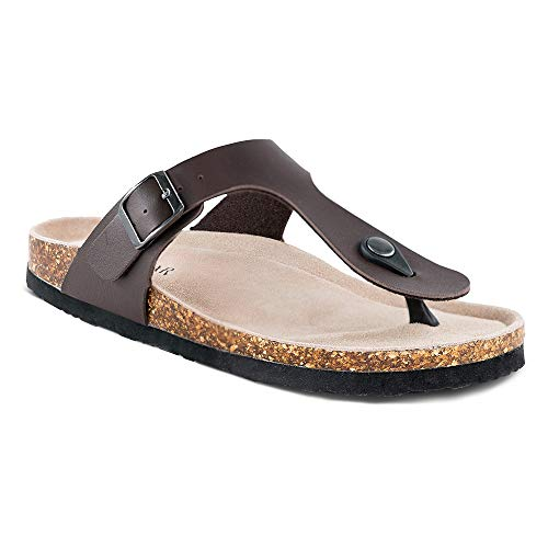 Women's Thong Flip Flop Flat Casual Cork Sandals with Buckle Strap,Leather Cork Gizeh...