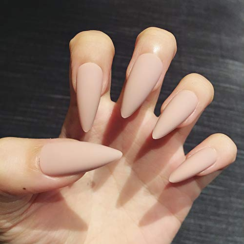 Artquee 24pcs Nude Pink Matte Long Stiletto Fake Nails Press on Nail False Tips Manicure for Women and Girls