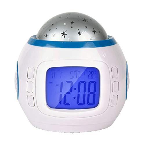 Katigan MúSica Cielo Estrellado Reloj de ProyeccióN Colorido Mudo Luminoso 1038 Elf Reloj Despertador de ProyeccióN