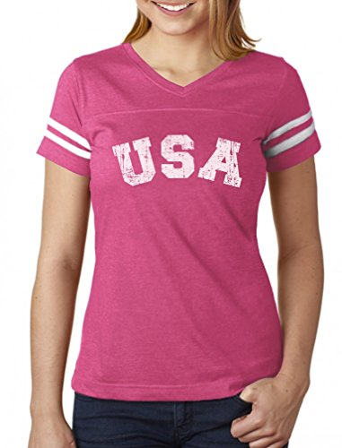 USA 4th of July Shirt for Women Patriotic Retro American Football Jersey Tshirt X-Large Pink/White