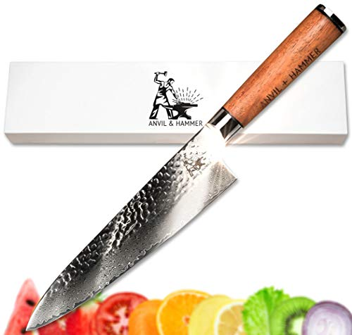 Damascus Chef Knife - Kitchen Knife - 67 Layer 8' VG-10 Japanese Super Steel Hammer Finish Blade - Full Tang African Rosewood Handle - Presented in Gorgeous Gift Box by Anvil and Hammer