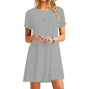 OMZIN Women's Swing Loose Short Sleeve Tshirt Fit Comfy Casual Flowy Tunic Dress Light Gray 4XL