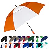 STROMBERGBRAND UMBRELLAS Vented Typhoon Tamer 62' Windproof Waterproof PGA Professional Quality Ultimate Portable Golfers Golf Umbrella for Men and Women, Orange/White, One Size