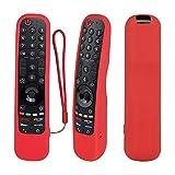 Funda Protectora de Silicona con Control Remoto para LG Smart TV AN-MR21 para LG OLED TV Magic Remote y MR21GA Remote Cover a Prueba de Golpes, Lavable y Agradable a la Piel, Antideslizante (Rojo)