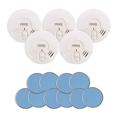 5X Siter GS506 Rauchmelder mit 85dB Alarm inkl. Magnethalterung und 5 Jahresbatterie. Rauchwarnmelder/Brandmelder mit Klebehalterung. Für Wohnzimmer, Kinderzimmer usw.