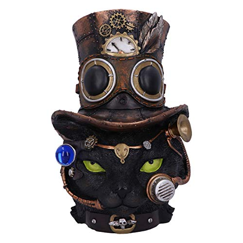 Nemesis Now Felius Mogg 28.8cm Steampunk Black Cat Head Figurine