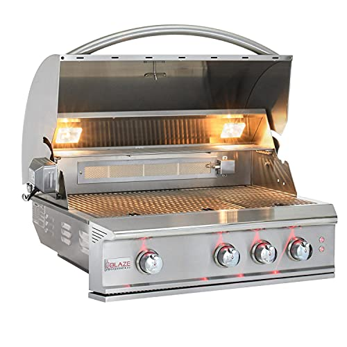 Blaze Professional LUX 34-Inch 3-Burner Built-in Natural Gas Grill with Rear Infrared Burner - BLZ-3PRO-NG