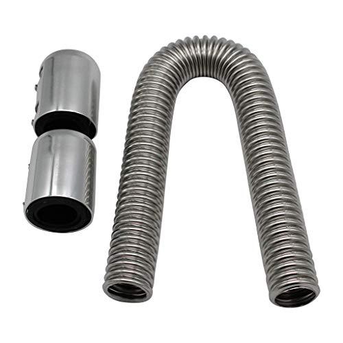DEtrade Abkühlen Schlauch Anzug Flexibler oberer/unterer Kühlerschlauchsatz & Edelstahl mit Chromkappen V8 (Silver)