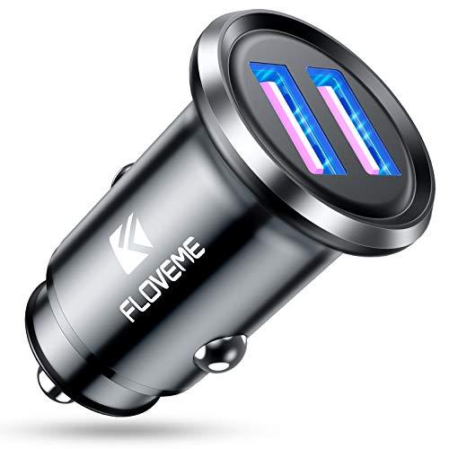 FLOVEME Zigarettenanzünder USB Adapter Schnellladung, Dual QC3.0 Port 36W/6A KFZ Ladegerät USB, Mini Metall Auto Ladegerät Zigarettenanzünder mit LED-Licht, Kompatibel mit iPhone Samsung Schwarz