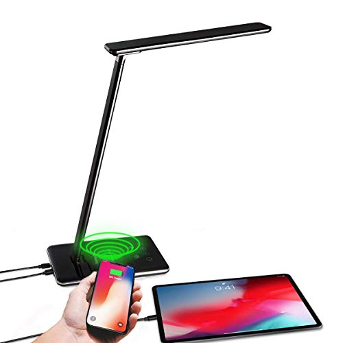 LED Desk Lamp with Wireless Charger, Dimmable Table Night Light, Eye-Caring Office Lamp, USB Folding...