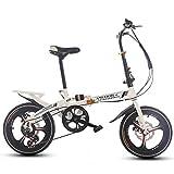 DBSCD Bicicleta Plegable 16 Pulgadas de Velocidad Variable para Mujer Amortiguador Adulto súper Ligero Bicicleta para niños para niños con Cesta