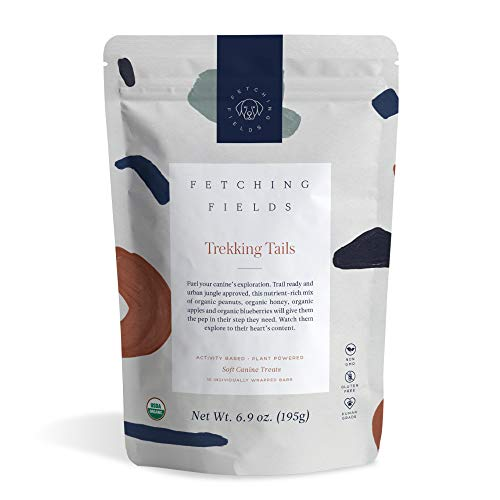 Fetching Fields - Human Grade, Organic Dog Treat Bars - Made in The U.S.A. - Trekking Tails: Peanut Butter, Honey, Apples, Blueberries & More!