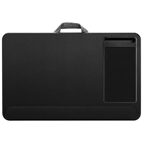 LapGear Home Office Pro Lap Desk with Wrist Rest, Mouse Pad, and Phone Holder - Black Carbon - Fits Up to 15.6 Inch Laptops - Style No. 91498
