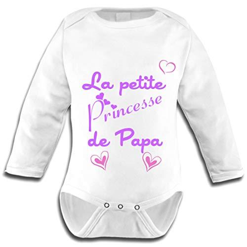 Les lutins de Camille-Body bébé Manches Longues Fille, la Petite Princesse de Papa (0-3 Mois)