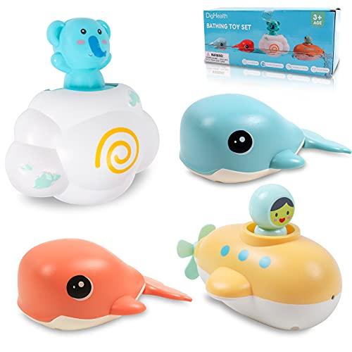 DigHealth 4 Piezas Juguetes Baño de Bebe, Juguetes de Bañera con Aparato de Relojería, Set de Juego de Ducha Piscina con 2 Ballena Nadador, 1 Submarino y 1 Nube para Niños de 1, 2, 3, 4, 5 Años