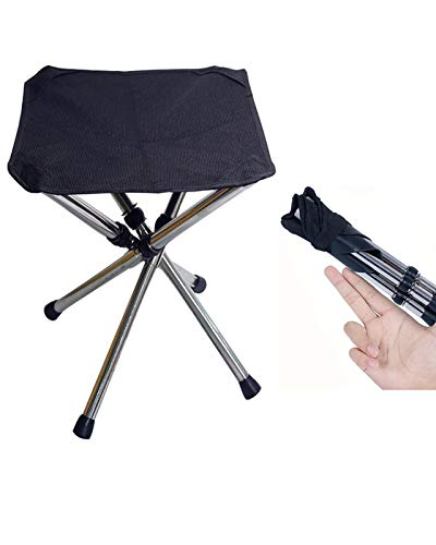 Folding Mini Camping Stool, Portable Lightweight Camping Stool, Large Size and Stainless Steel Outdoor Foldable Chair for Camping, Travel, Hiking, BBQ, Fishing, Garden, Beach(Black-Large)