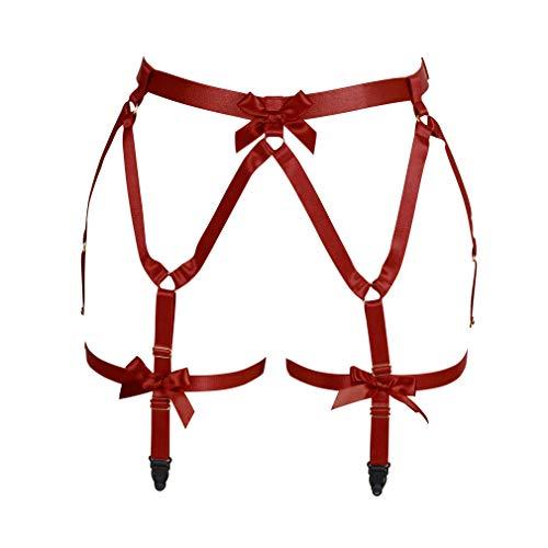 BANSSGOTH Arnés para el cuerpo de las mujeres Liguero Correa para la pierna Jaula de lencería Tela elástica Gótico Punk Festival Rave Tamaño ajustable (Vino rojo)