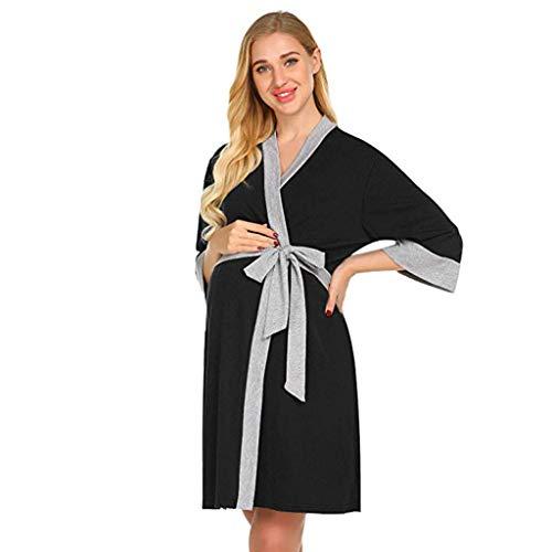HCFKJ Ropa Premamá Invierno Talla Grande para Mujer Embarazadas Cuidado De Maternidad Bata Delivery Robe Hospital Vestido De Lactancia Materna (XL, Negro)