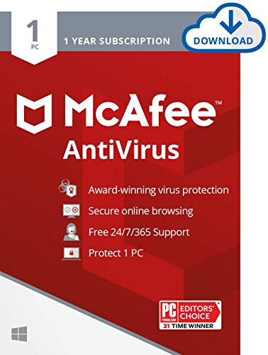 McAfee AntiVirus Protection 2020, 1PC, Internet Security Software, 1 Year - Download Code