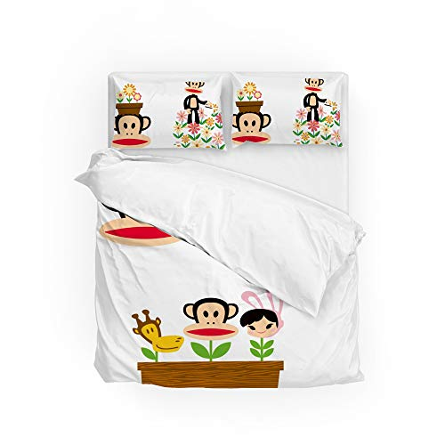 MaoLong Bedding Set Cute Paul Frank Duvet Cover Comforter Set Soft 3 Piece with 2 Envelope Pillow Shams Hypoallergenic with Zipper