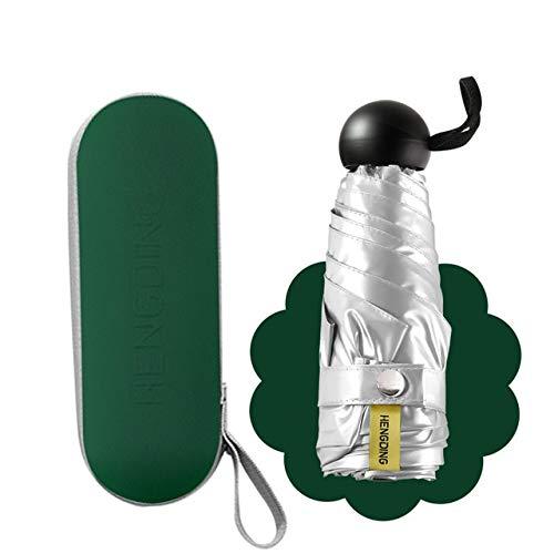 NJSDDB Paraplu Mini Pocket Paraplu Opvouwbare Titanium Zilver Paraplu Regen Vrouwen Pongee Outdoor Galaxy Zon Paraplu, Groen