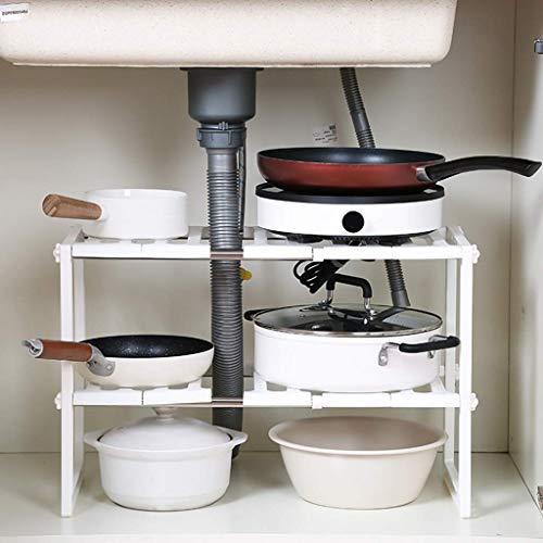 JIAJBG Accesorios de Cocina de la Grada 2 Ampliable Bajo el Estante Fregadero Organizador, Inicio Multifunción de Alenamiento en Rack de Cocina Gabinete de Baño Bastidores, Blanca A