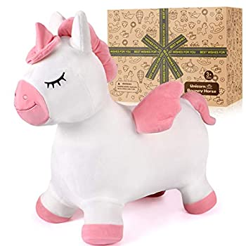 G.C Unicorn Bouncy Horse for Toddlers Inflatable Bouncing Hopper Plush Covered Indoor Outdoor Ride on Jumping Animal Toys Ideal Gift for Girls 2 3 4 5 Years Old