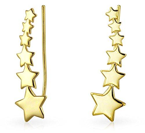 USA Patriotischen Shooting Stern Ohr Kletterer OhrKlemme Ohrringe Für Damen Wickeln Crawlers 14K Vergoldet 925 Silber