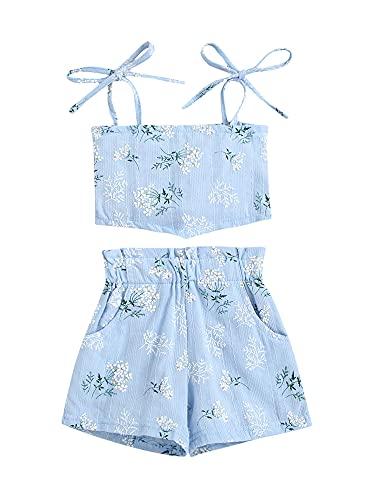 Conjunto de ropa para bebés y niñas, estampado floral, sin mangas, camiseta corta + pantalones cortos, 2 piezas de verano, azul, 24 meses