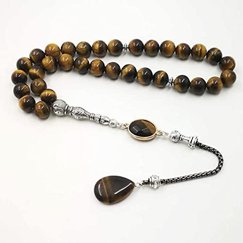 PPuujia Pulsera de estilo 2021, piedra natural, rosario musulmán, Islam, 33, 66, 99, (longitud: 8 mm, color: 45 cuentas)