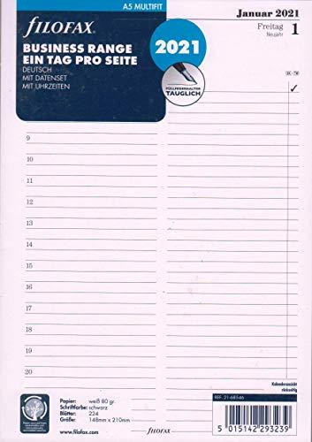 Filofax 2021 A5 Kalender Einlage Tagesblätter 1Tag 1Seite Kalendarium Deutsch 21-68546 Weiss Personal
