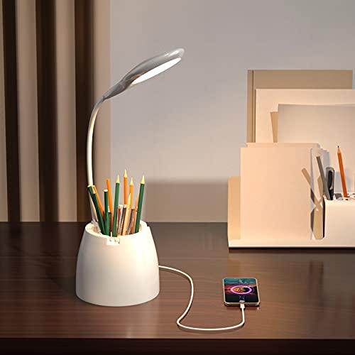AMANKA Lámpara Escritorio LED Cuidado Ocular, Luz Lectura Recargable USB con con Portalápices, Flexo Escritorio Luz con Diseño Giratorio, 3 Niveles de Brillo para Estudio/Lectura/Dormitorio