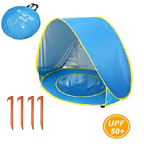 Adamantite Quick install Pop Up Baby Beach Tent, Portable Kiddies Shade Pool Tent UPF 50+ UV Protection Sun Shelter Canopy for Infant Indoor and Outdoor Use (Pool Type Blue)