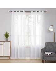 Deconovo Lot de 2 Rideaux Voilages à Oeillets pour fenêtre 140x240cm Voilage Blanc