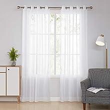Deconovo Cortinas Blancas Translucidas Visillos para Ventanas de Salón y Dormitorio Moderno 140 x 240 cm 2 Piezas Blanco