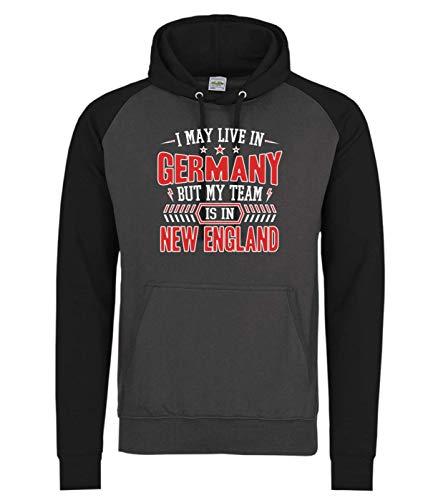 Shirt Happenz Patriots New England Pats Football Super Bowl Premium Baseball Hoodie Pulli Kapuzenpullover, Größe:XL, Farbe:Dunkelgrau Schwarz JH009