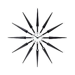 Celeste Dark Wood Spokey Starburst Clock 24 inch Starburst Wall Clock Retro Starburst Clock Midcentury with Quartz Movement Easy Keyhole Hang Sunburst Wall Clock Decor Modern (Dark Wood)