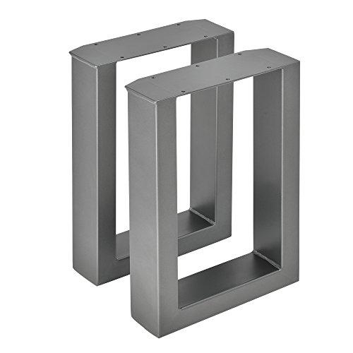 [en.casa] 2X Tischgestell 30 x 43cm Stahlgrau Stahl Tischkufen Bankgestell