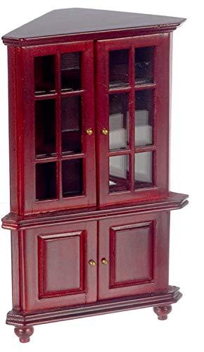 Melody Jane Casa de Muñecas Caoba Esquinera Vitrina China Miniatura de Estar Muebles de Comedor
