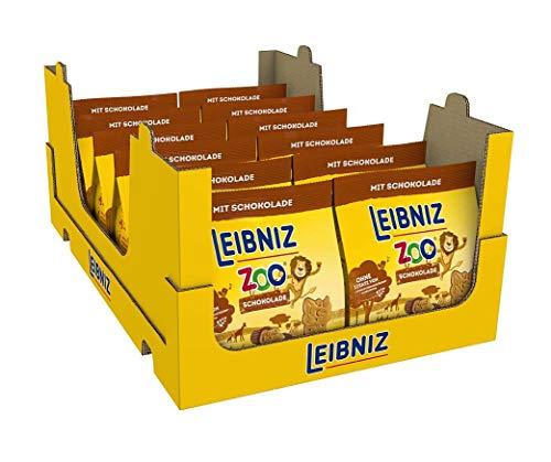 LEIBNIZ ZOO Schokolade - 12er Pack – Mini-Butterkekse mit Schokolade in lustigen Tier-Motiven für Kinder - ohne Palmöl – im Vorteilspack (12 x 100 g)