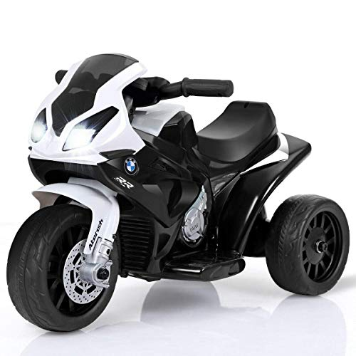 Costzon Kids Ride on Motorcycle, 6V Battery Powered 3 Wheels Motorcycle Toy for Children Boys & Girls, Electric Ride on Motorcycle w/Headlights &Music, Pedal (Black)