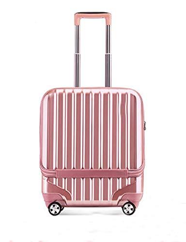 Bagaglio mini ultraleggero, valigia a 4 ruote rigida ABS + PC con guscio rigido, design della ruota girevole a 360 gradi, chassis con blocco password TSA, 19 pollici (Colore : Pink)