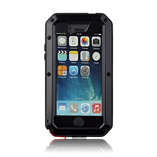 New Waterproof Shockproof Aluminum Gorilla Glass Metal Military Heavy Duty Armor Bumper Cover Case for Apple iPhone 5 5S Home Key +Fingerprint - Black