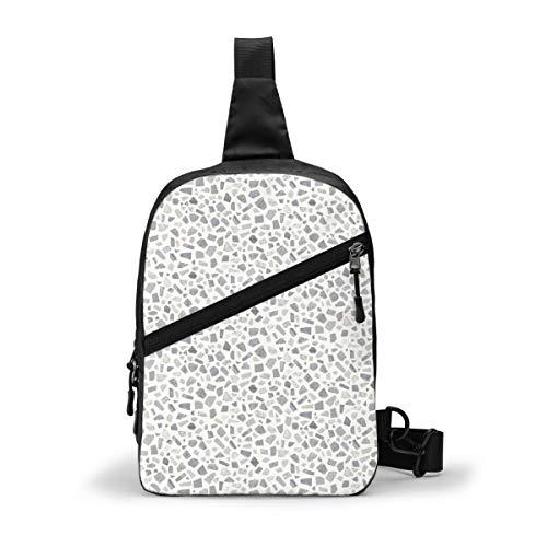 Terrazo geométrico retro gris paquete de pecho multipropósito Crossbody al aire libre bolsa de hombro mochila mochila de gran capacidad casual deporte mochila para senderismo viaje deporte