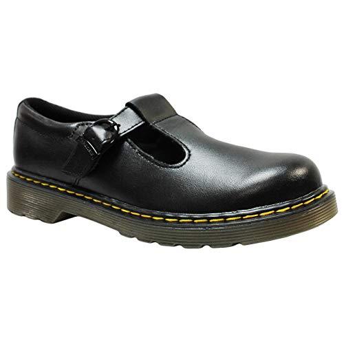Dr. Martens Junior Polley T Lamper Leather Buckle Shoe Black-Black-3 (Older) Size 3 (Older)